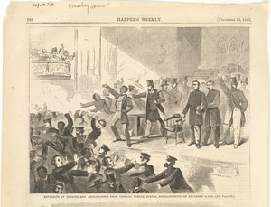 Expulsion of negroes and abolitionists from Tremont Temple, Boston, Massachusetts, on December 3, 1860