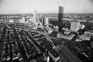 Aerial views of North End and downtown waterfront, downtown Boston
