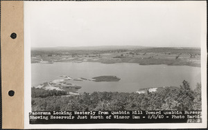 Panorama looking westerly from Quabbin Hill toward Quabbin Nursery, showing reservoir just north of Winsor Dam, Quabbin Reservoir, Mass., Aug. 8, 1940