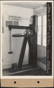 Consolidation apparatus, ready for use, soil testing laboratory, Enfield, Mass., Jan. 24, 1939