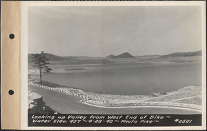 Looking up valley from west end of dike, water elevation 457, Quabbin Reservoir, Mass., Apr. 29, 1940
