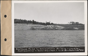 Boathouse ramp and Administration Building, looking southwesterly, Belchertown, Mass., June 14, 1940
