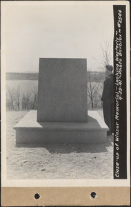 Close-up of Winsor Memorial, looking westerly, Quabbin Reservoir, Mass., Apr. 29, 1941