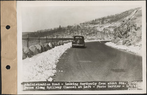 Administration Road, looking northerly from about station 10+00, fence along spillway channel at left, Belchertown, Mass., Jan. 7, 1941