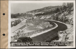 Administration Road, looking northerly from about opposite station 1+00, showing fence along spillway channel, Belchertown, Mass., Jan. 7, 1941
