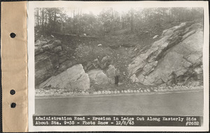 Administration Road, erosion in ledge cut along easterly side about station 9+35, Quabbin Reservoir, Mass., Dec. 8, 1943