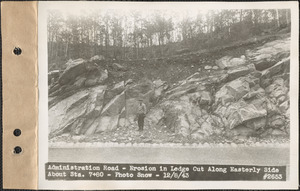 Administration Road, erosion in ledge cut along easterly side about station 7+80, Quabbin Reservoir, Mass., Dec. 8, 1943