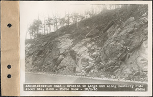 Administration Road, erosion in ledge cut along easterly side about station 5+30, Quabbin Reservoir, Mass., Dec. 8, 1943