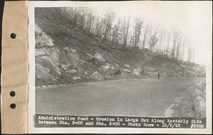 Administration Road, erosion in ledge cut along easterly side between station 2+00 and station 4+00, Quabbin Reservoir, Mass., Dec. 8, 1943