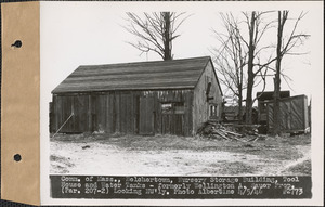 Commonwealth of Massachusetts, nursery storage building, tool house, and water tanks, formerly Wellington A. Sauer property, looking northwesterly, Belchertown, Mass., Apr. 5, 1946