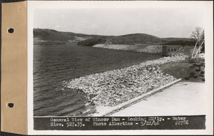 General view of Winsor Dam, looking northeasterly, water elevation 527.35, Quabbin Reservoir, Mass., May 22, 1946