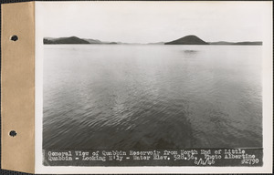 General view of Quabbin Reservoir from north end of Little Quabbin, looking northerly, water elevation 528.36, Quabbin Reservoir, Mass., June 4, 1946