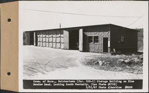 Commonwealth of Massachusetts, storage building on Blue Meadow Road, looking southwesterly, Belchertown, Mass., Mar. 31, 1947