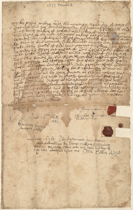 Deed, Thomas Makins and wife Elizabeth to John Cowles, March 8, 1677