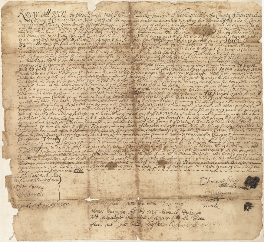 Deed, Thomas Dickinson of Wethersfield, Conecticut [sic], to Nathaniel Dickinson, 1710