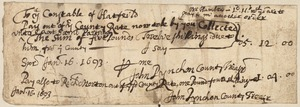 County rate paid to Samuel Partridge and Richard Norton, signed by John Pynchon, 1693