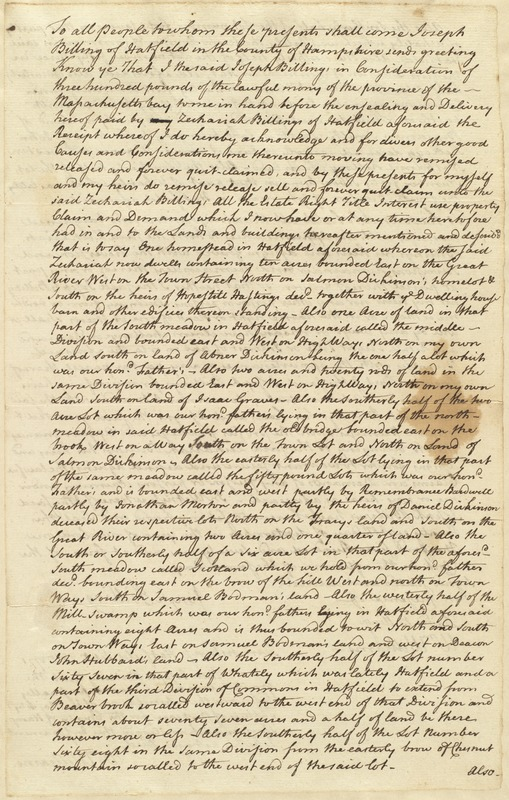 Deed, Joseph Billings to Zachariah Billings, no date, first page only