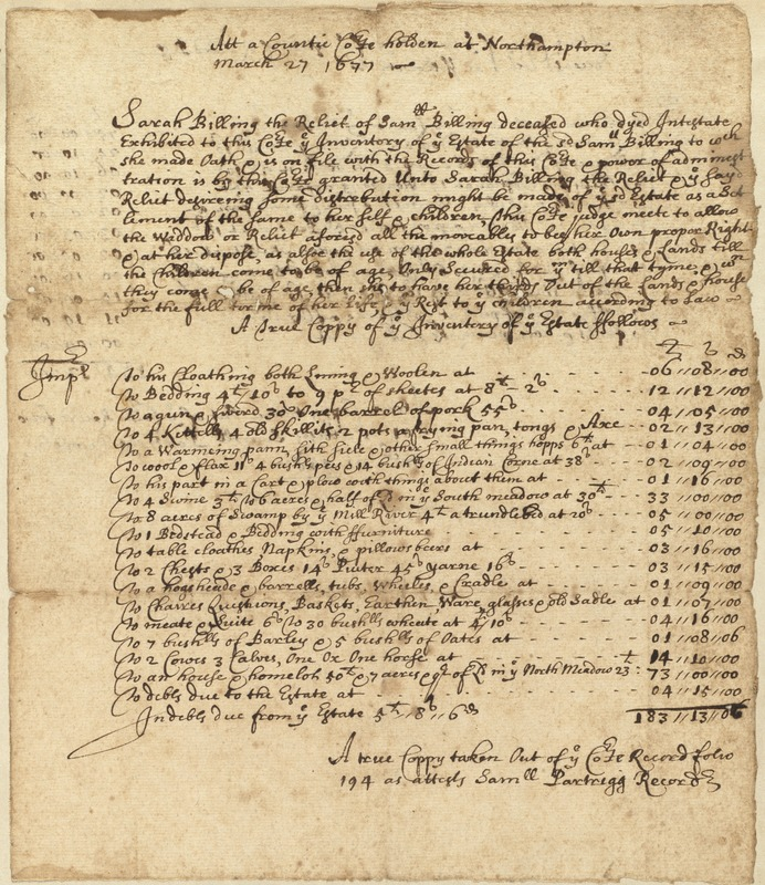 Inventory of the estate of Samuel Billings, March 27, 1677
