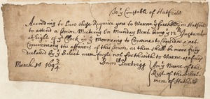 From Selectman Samuel Partridge to the Constable of Hatfield, calling him to attend town meeting, 1693/4
