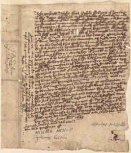 Early land deed (difficult to read), 1669