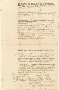 Deed, Benjamin Wells to Timothy Cowls Jr., 1771