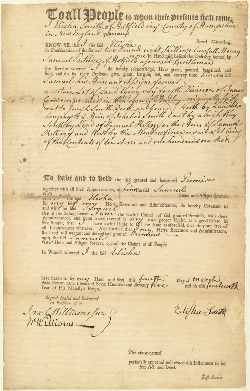 Deed, Elisha Smith to Samuel Partridge, March 4, 1775