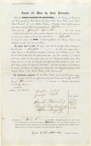 Deed to Pew 63, First Parish in Hatfield, to Joseph Smith, 1849