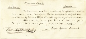 10 shares Hampshire Bank, $1,000, signed by Joseph Lyman, president, April 8, 1834