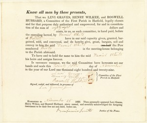 Deed to Pew 30 for $88, First Parish in Hatfield, to Daniel White, Nov. 25, 1829