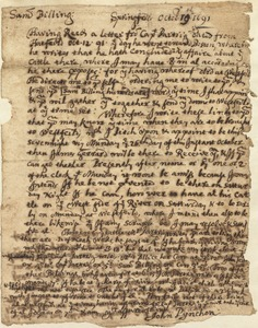 Letter to Sam Billing from John Pynchon in Springfield, Oct. 19, 1691