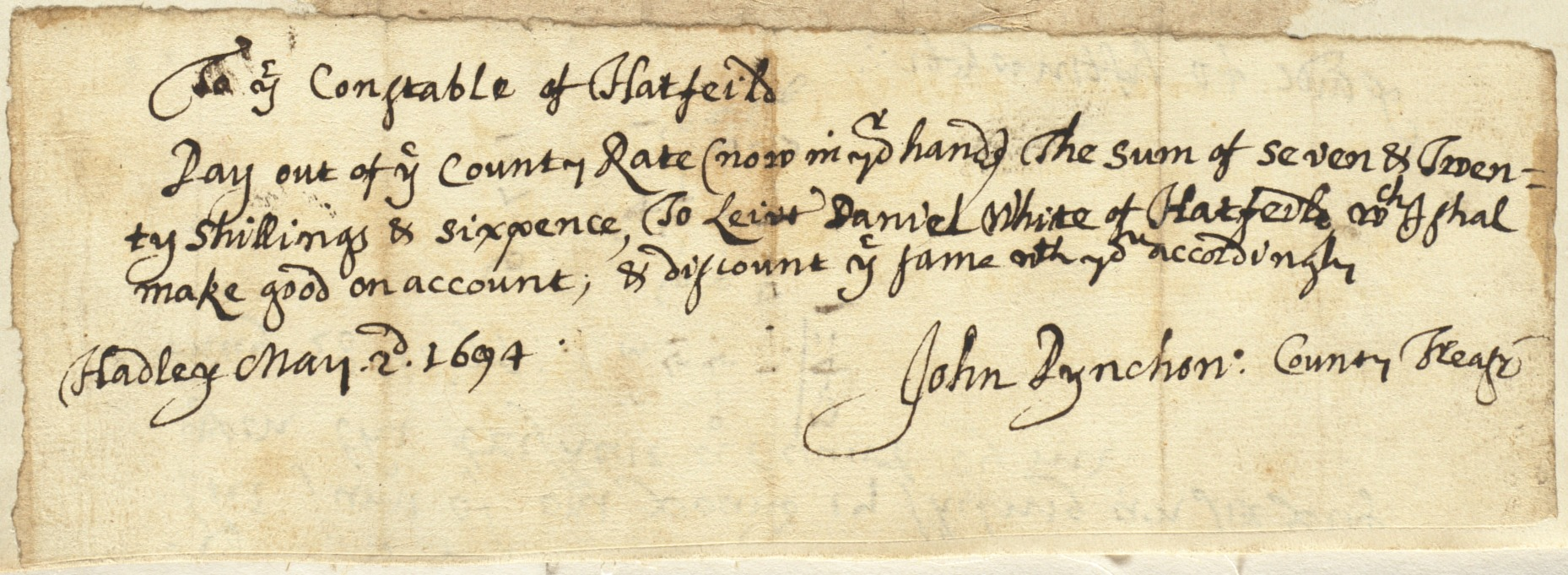Note to Constable of Hatfield from John Pynchon, Hadley, May 2, 1694