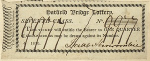 Hatfield Bridge Lottery ticket No. 9977