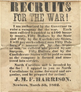 Confederate recruiting poster from J.M.F. Harrison, Newbern, N.C., March 5, 1862