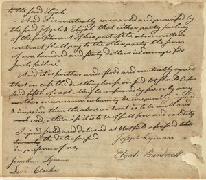 Agreement between Joseph Lyman and Elijah Bardwell, if either shall default on contract, he shall pay the other $150 (no date given, contract not shown)