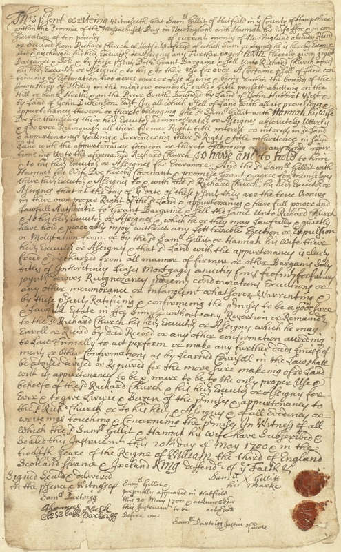 0c85ac465 Deed, Sam Gillis and wife Hannah to Richard Church, 20 May 1700 ...