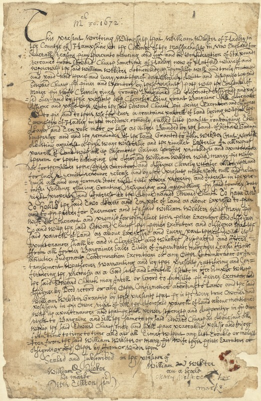 Deed, William Webster, Hadley, to Edward Church, sometime of Hadley now of Hatfield, 30 March 1672