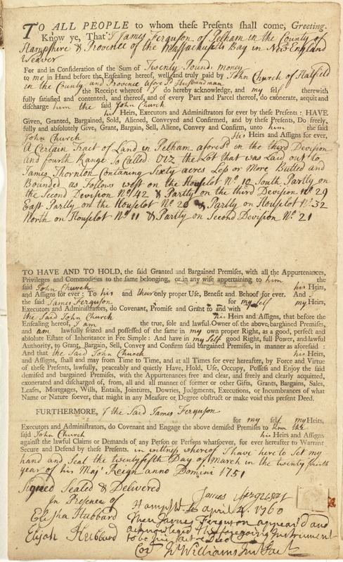 Deed, James Ferguson, Pelham, to John Church, Hatfield, for land in Pelham, 25 March 1751