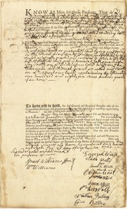 Deed, Samuel Wells, Noah Wells, Sarah Wells, Elijah Wait, & Martha Wait, Hatfield, and Aaron Wells, Hadley, and John Wells, Nathan Billing, and Lydia Billing, Hardwick, to Joseph Billing and David Billing, Hatfield, for land in Hatfield, signed by Israel Williams Jr. and William Williams, 20 September 1761