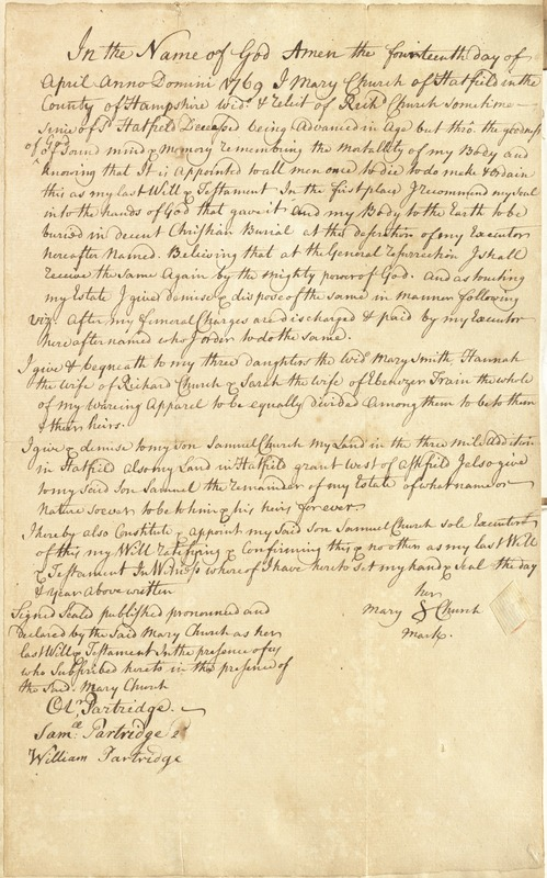 Will of Mary Church, Hatfield, widow of Richard Church, to her son Samuel and 3 daughters 14 April 1769