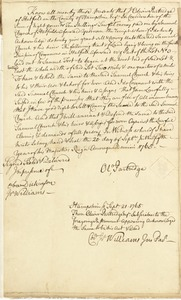 Deed, Oliver Partridge to Samuel Church, both of Hatfield, signed by Col. Israel Williams, 20 September 1765
