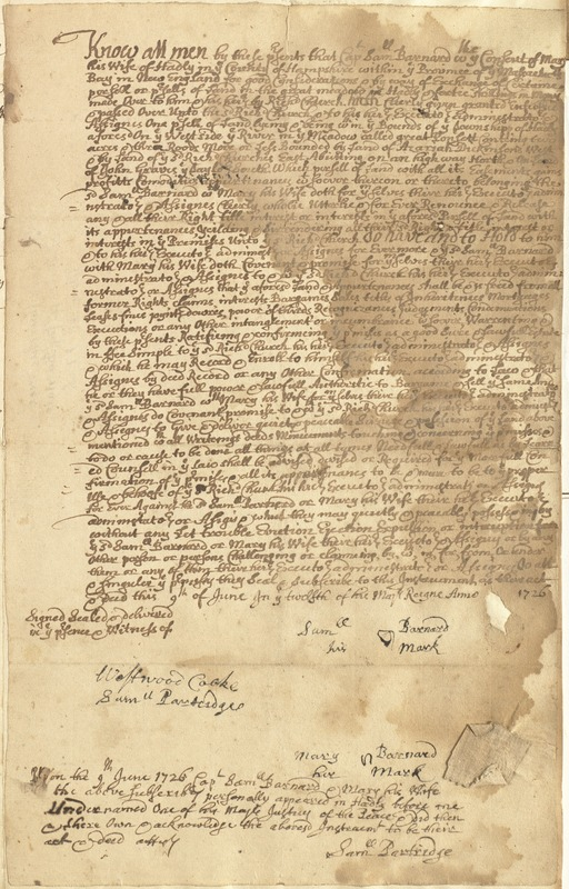 Deed, Cap. Samuel Barnard & wife Mary, Hadley, to Richard Church, for land in Hatfield, 9 June 1726