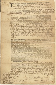 Deed, Joseph Smith & wife Sarah, Hadley, to Richard Church, Hatfield, for land partly in Quobben, partly in Hardwick, 22 July 1747