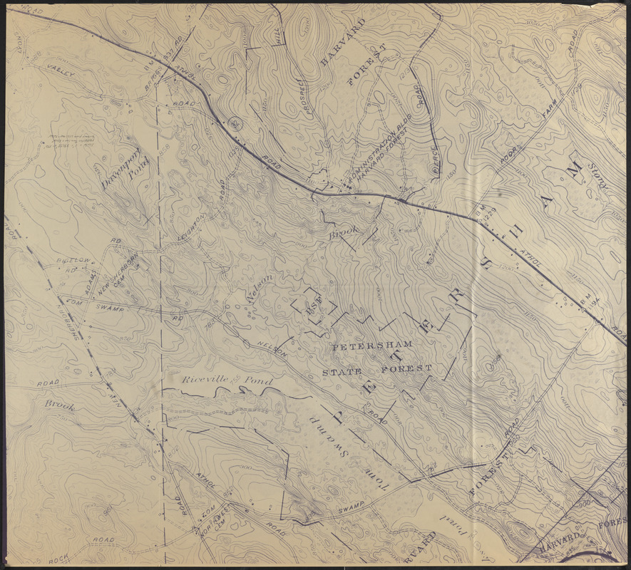 Blow up of USGS Map of Petersham Showing Harvard and Petersham State Forests