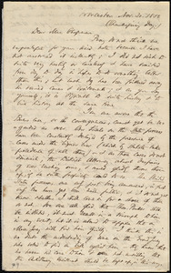 Letter from Thomas Wentworth Higginson, Worcester, [Mass.], to Maria Weston Chapman, Nov. 30, 1854, Thanksgiving Day