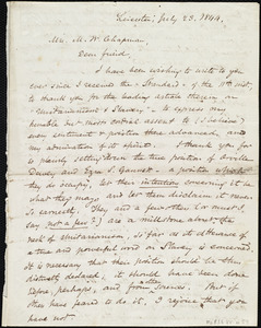 Letter from Samuel May, Leicester, [Mass.], to Maria Weston Chapman, July 23, 1844