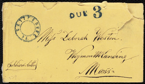 Envelope from Augustus Hesse, Gettysburg, Pa., to Deborah Weston, [not after 1863 July 1]