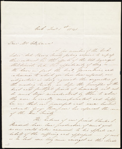 Letter from Jane Jennings, Cork, [Ireland], to Maria Weston Chapman, Dec. 1st, 1841