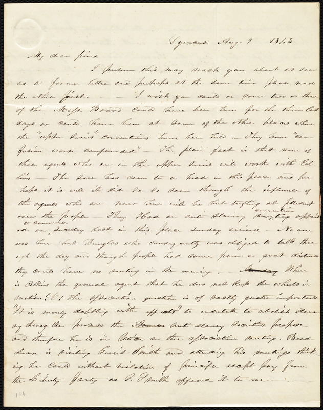Letter from Abby Kelley Foster, Syracuse, [NY], to Maria Weston Chapman, Aug. 2, 1843
