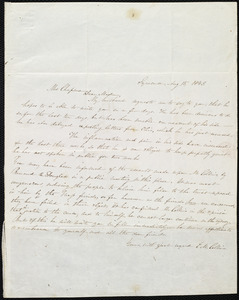 Letter from Eunice Messenger Collins, Syracuse, [NY], to Maria Weston Chapman, Aug. 15, 1843