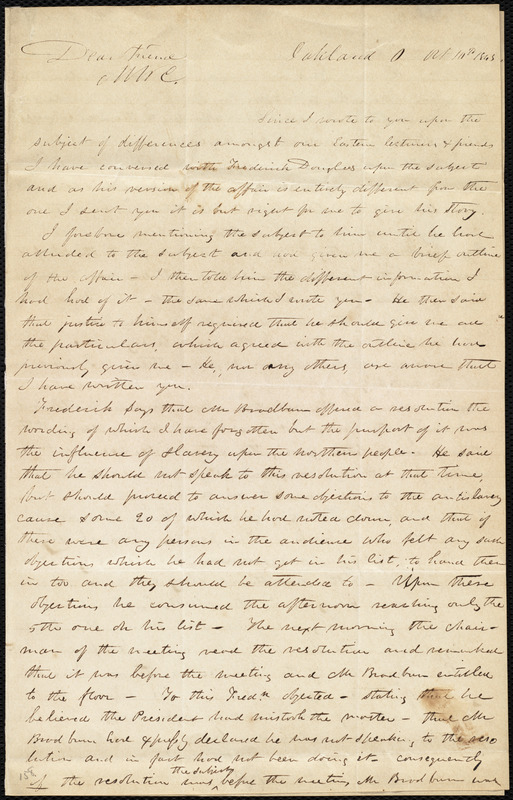 Letter from Abraham Brooke, Oakland, O[hio], to Maria Weston Chapman, Oct. 10th, 1843